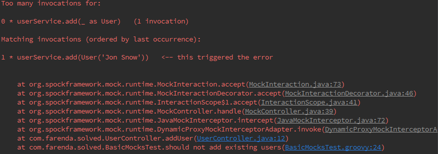 Spock Framework Mock Too many invocations